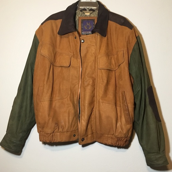 Small 1980s Coat Brown Leather Patchwork Oversized Fleece Lined 80s Jacket